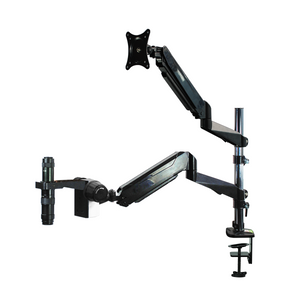 0.35X-2.25X Industrial Inspection Video Zoom Microscope, Pneumatic Arm Post Clamp Stand + Monitor Holder