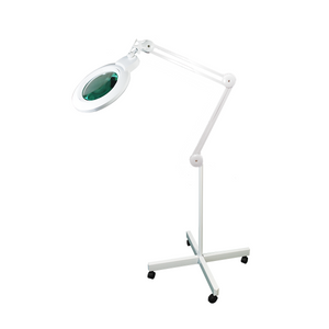 5 Diopter (2.25X Magnification) LED Magnifying Lamp on Rolling Floor Stand, 7 inch Lens