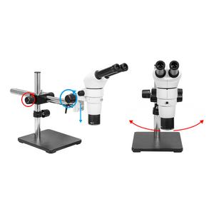 8X-80X Widefield Parallel Zoom Stereo Microscope, Binocular, Single Arm Boom Stand, Siedentopf 0-35° Viewing Angle