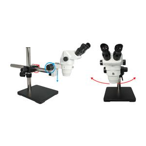 6.5X-45X Super Widefield Zoom Stereo Microscope, Binocular, Single Arm Boom Stand