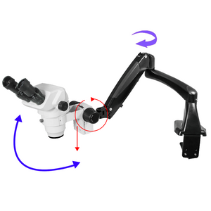 6.5X-45X Super Widefield Zoom Stereo Microscope, Binocular, Pneumatic Articulating Arm Table Clamp