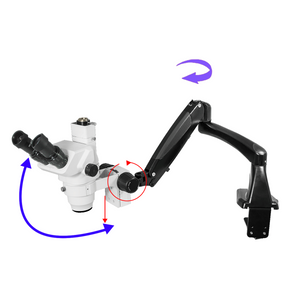 6.5X-45X Super Widefield Zoom Stereo Microscope, Trinocular, Pneumatic Flexible Arm Table Clamp