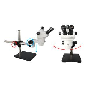 8X-50X Widefield Zoom Stereo Microscope, Trinocular, Single Arm Boom Stand