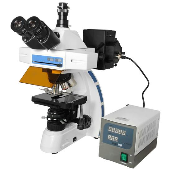 40X-1000X Fluorescence Microscope, Trinocular, Dual Light MH, Plan Fluor Semi-Apochromatic Objectives