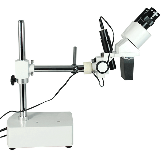 10X Widefield Stereo Microscope, Binocular, Single Arm Boom Stand with Arbor, LED Top Light