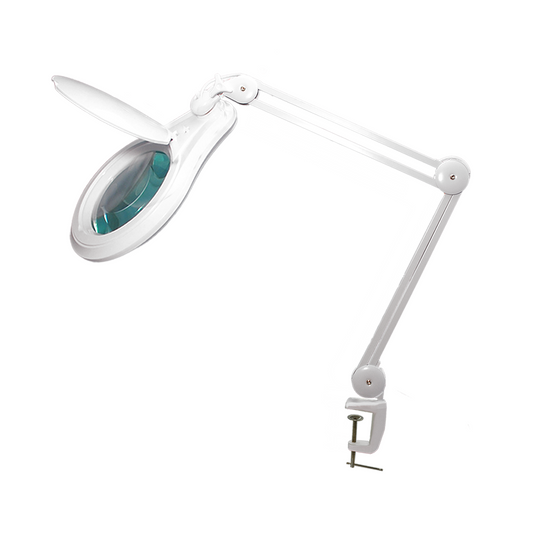 5 Diopter (2.25X Magnification) LED Magnifying Lamp with Clamp, 5 inch Lens + Flip Cover