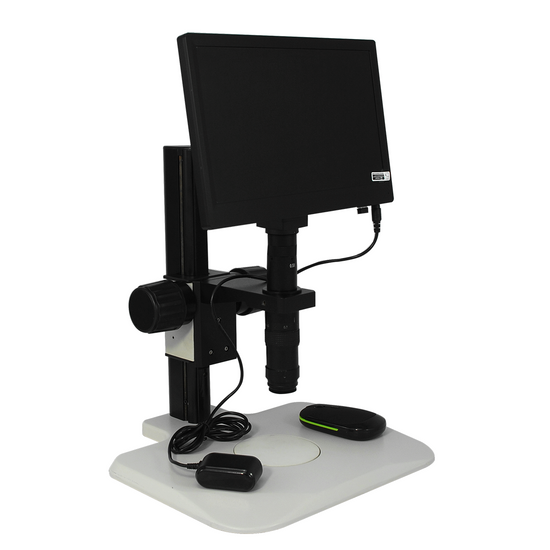 0.35X-2.25X Industrial Inspection Video Zoom Microscope, Track Stand + LCD Display Digital Camera 10 in. Monitor