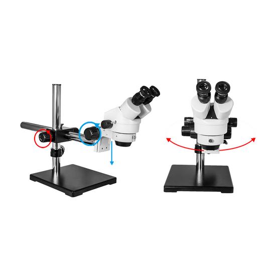 7X-45X Widefield Zoom Stereo Microscope, Binocular, Single Arm Boom Stand (Siedentopf)