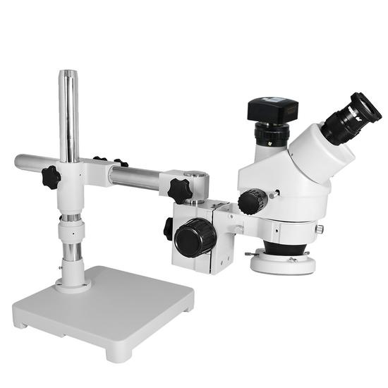 3.5X-45X Widefield Zoom Stereo Microscope, Trinocular, Single Arm Boom Stand with Arbor, LED Light + 5M CMOS Digital Camera