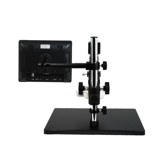 0.35X-2.25X LED Industrial Inspection Video Zoom Microscope, Post Stand + Digital Camera + 8 in. Monitor