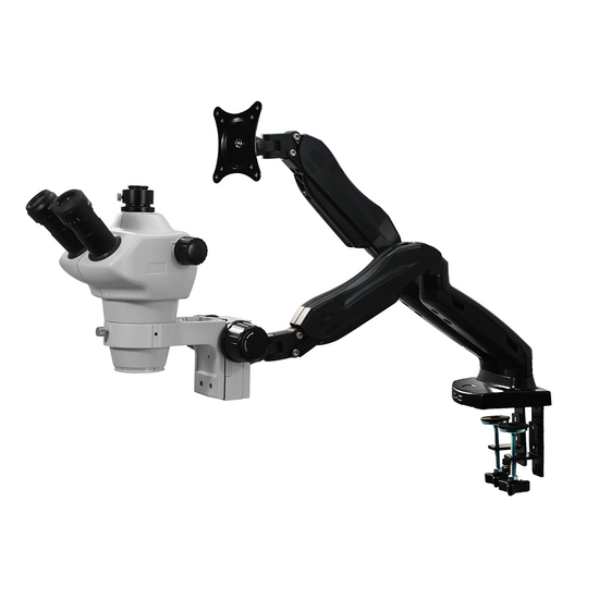 8X-50X Widefield Zoom Stereo Microscope, Trinocular, Pneumatic Articulating Arm Table Clamp + Monitor Holder