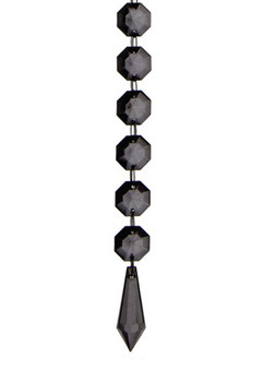 BEAD08BK Crystal Bead Chain - Black (12pcs)