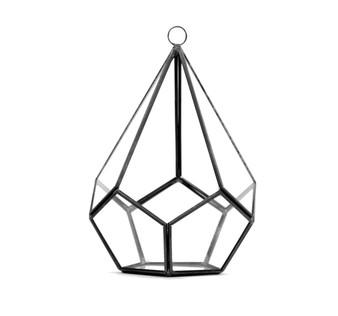 "GET0108BK Black Tear Drop Geometric Terrarium - 8""H (6 pcs)"