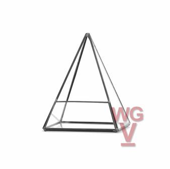 "GET0207BK Black Pyramid Geometric Glass Terrarium. 7.5""H - (6 pcs)"