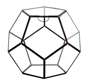 """GET1211BK Large Black Prism Geometric Glass Terrarium. 9""""H - (2 pcs/case)"""