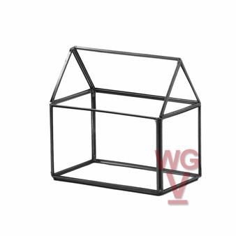 "GET1406BK Black House Geometric Glass Terrarium. 6""H - (8 pcs)"