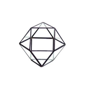 """GET1606BK Cuboctahedron Multi-Facet Ball Geometric Glass Terrarium. 6"""" H - (8 pcs)"""