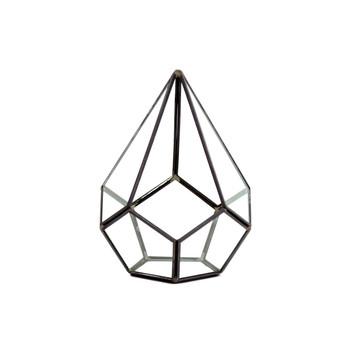 """GET1708BK Undecahedron Tear Drop Geometric Glass Terrarium - 6"""" x 7.5""""H (6 pcs)"""