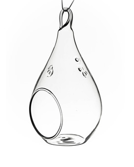 "HCH0205 Clear Hanging Pear Glass Terrarium / Candle Holder - 1.75""x5.5"" (48PCS)"