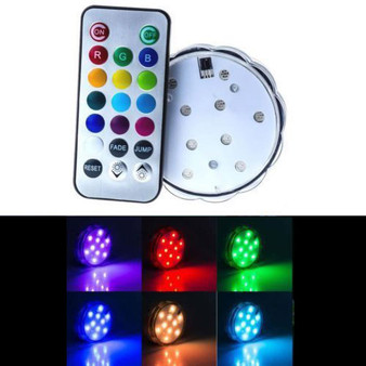 "LED14RGB - RGB Color Changing Remote Control LED Light Base, NO WHITE - 2.7"" (4 pcs)"