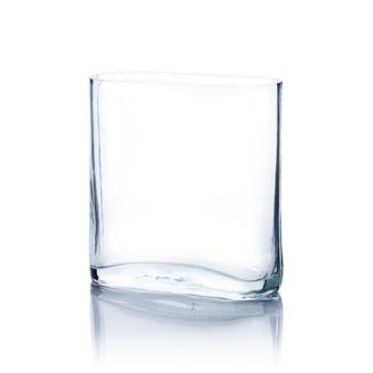 "VBR7308 Clear Round Rectangular Vase 3""x7""x8""H. (12 pcs)"