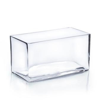 """VBV4408 Block Rectangle Glass Vase - 8""""x3.5""""x4"""" (12PCS)"""