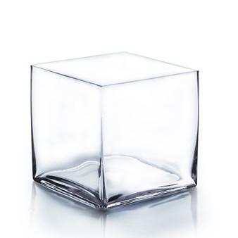 "VCB0008 - Clear Cube Glass Vase - 8""x8""(4 pcs)"