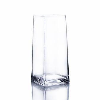 "VTB8310 Clear Tapered Up Square Block Vase - 4""x9""H (12pcs)"