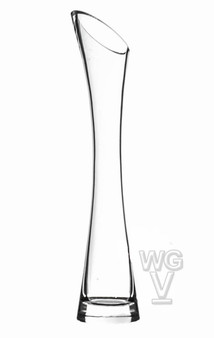 "VUS0210 Clear Unique Concaved Bud Vase With Slant Top - H: 10"" (24 pcs)"
