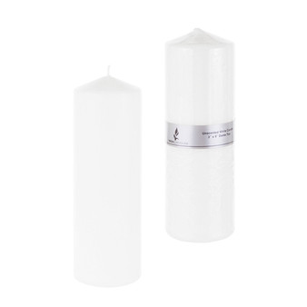 """CGA089W 3"""" x 9"""" Domed Top Press Unscented Pillar Candle - White (1 pc)"""