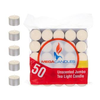 "CGA105I 1.5"" x 1"" Jumbo Tea Light Candle - Ivory (Bag of 50 candles)"