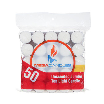 "CGA105W 1.5"" x 1"" Jumbo Tea Light Candle - White (Bag of 50 candles)"