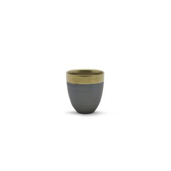 "CUB8604GB Small Dark Ceramic Bowl with Gold Rim - 4.3"" H (32 pcs)"