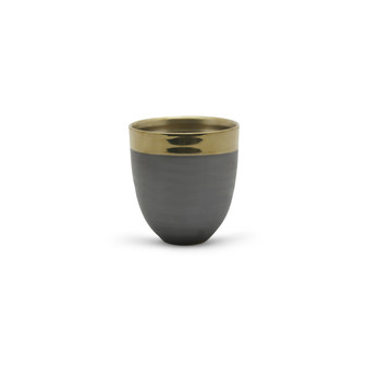 "CUB8606GB Medium Dark Ceramic Bowl with Gold Rim - 5.7"" H (12 pcs)"
