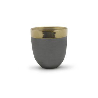 "CUB8607GB Large Dark Ceramic Bowl with Gold Rim - 6.7"" H (8 pcs)"