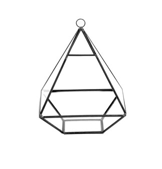 "GET0308BK Black Raised Pyramid Geometric Glass Terrarium - 8""H (6 pcs)"