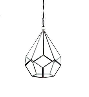 """GET1009BK Undecahedron Tear Drop Geometric Terrarium - 7"""" W x 8.75""""H (6 pcs)"""