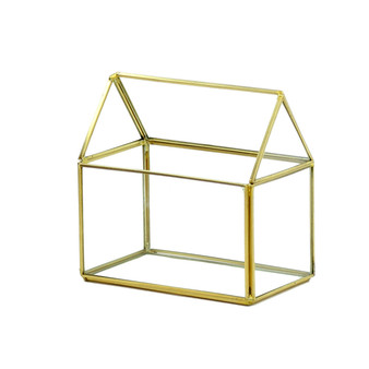 "GET1406GD Gold House Geometric Glass Terrarium - 6""H (8 pcs)"