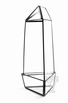 "GET2011BK Large Black Triangular Obelisk Geometric Terrarium - 11""H (9 pcs)"