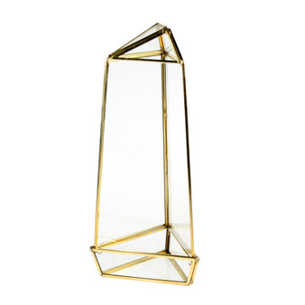 "GET2011GD Large Gold Triangular Obelisk Geometric Terrarium - 11""H (9 pcs)"