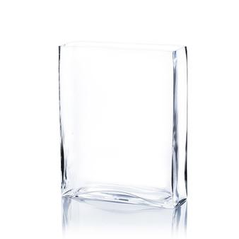 """VBV6212 Clear Rectangle Block Vase -  6"""" W x 2"""" L x 12"""" H (6 pcs)"""