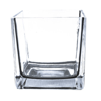 "VCB0004A Clear Cube Glass Vase [Utility] - 4"" (12 pcs)"