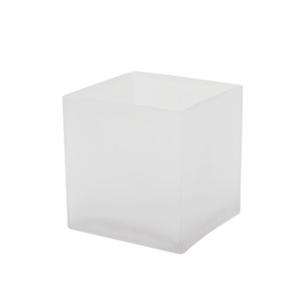 "VCB0005FR - Frosted Cube Glass Vase - 5"" x 5"" (12 pcs)"