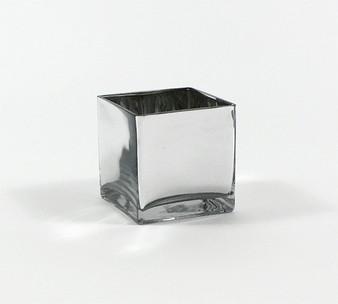 "VCB0005SV - Silver Cube Glass Vase - 5"" x 5""(12 pcs)"