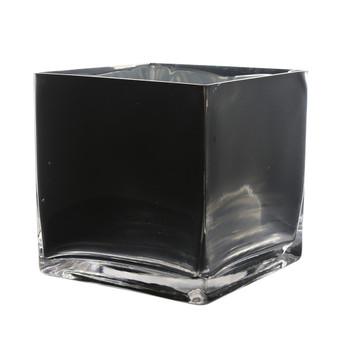 """VCB0006BK - Black Cube Glass Vase - 6"""" x 6"""" (6 pcs)"""