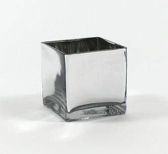 "VCB0006SV - Silver Cube Glass Vase - 6"" x6"" (6 pcs)"