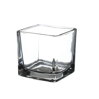 "VMC0030 Small Cube Glass Votive Candle Holder - 3"" x 3"" (48 pcs - Machined)"