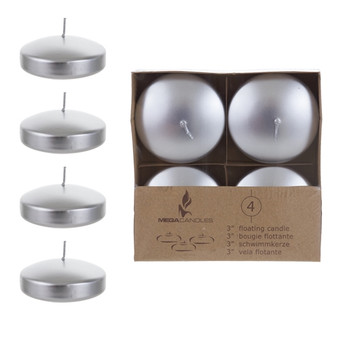 "CGA064-SV - 3"" Floating Disc Candles - Silver (4 pcs/box)"