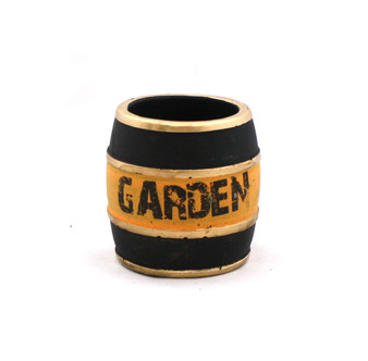 "RKR0404 - Small Black & Orange Garden Barrel, Low Fire Ceramic - 3.5"" (24 pcs)"