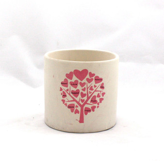 "RTC0505PT - Pink Heart Tree Cylinder Pot, Low Fire Ceramic - 4.8"" (24 pcs)"
